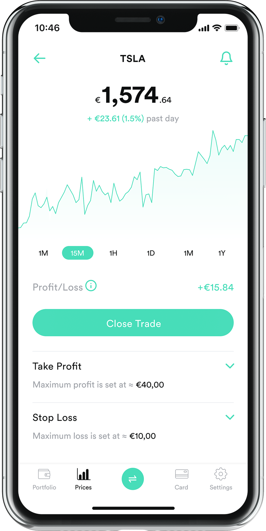 Change trading app screenshot