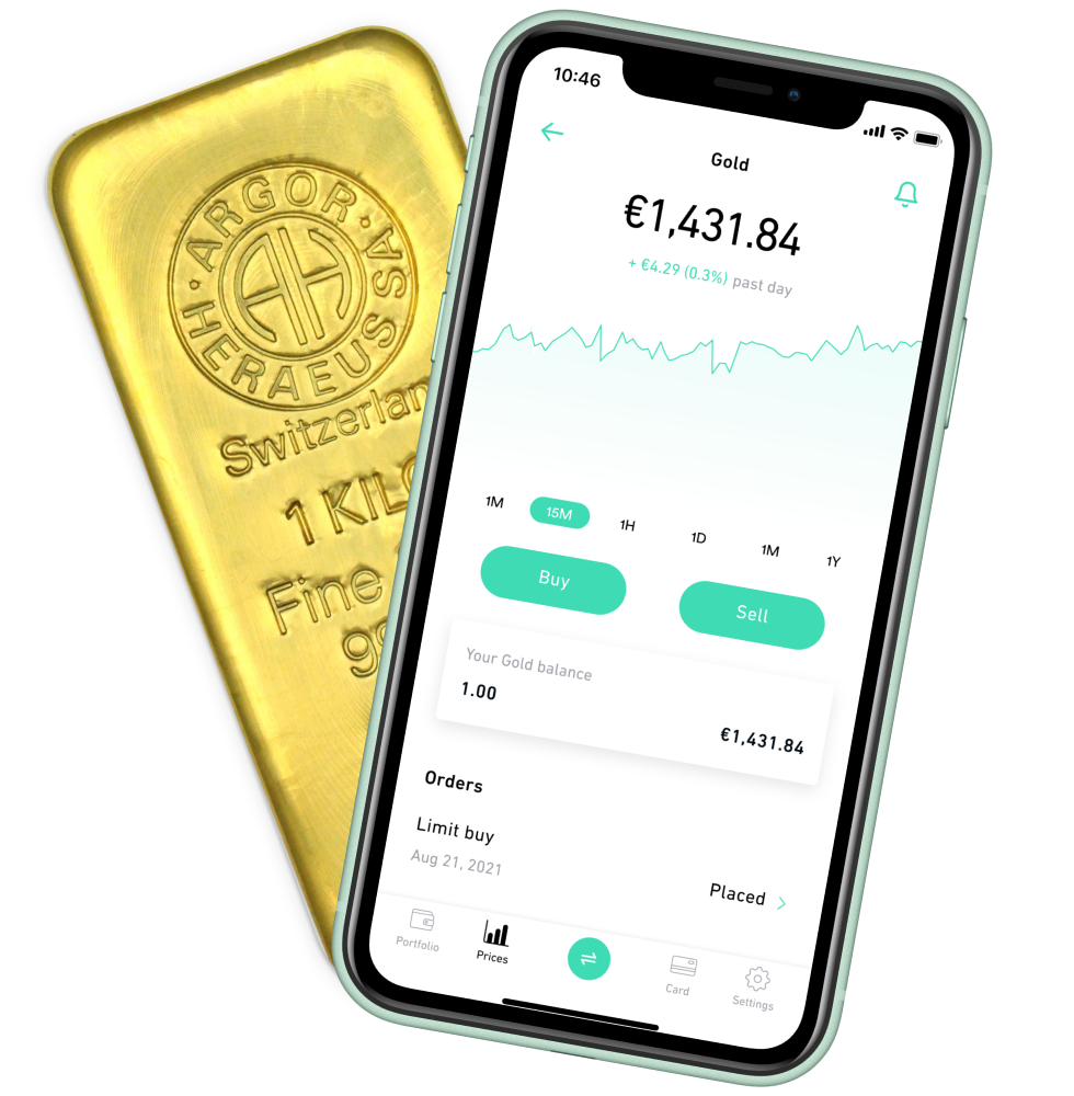 Buy and sell Gold in the Change app, interface with a gold bar
