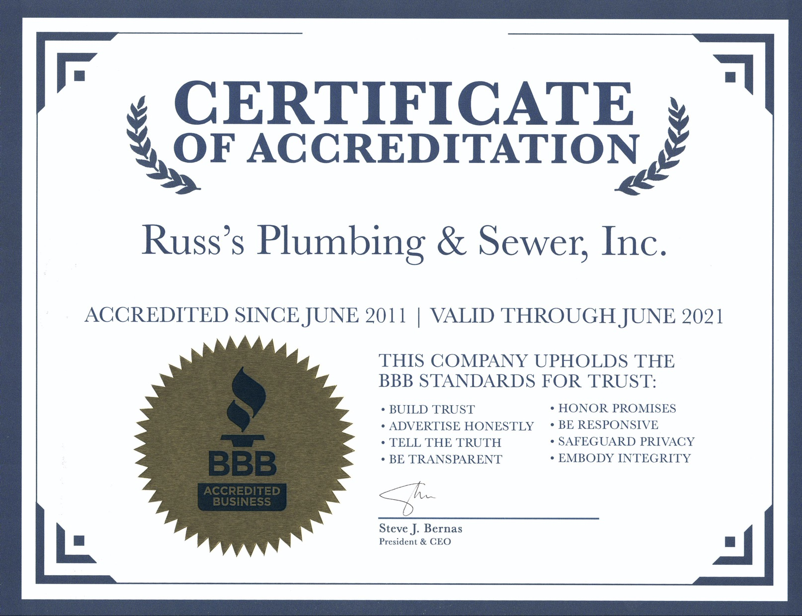 Russ's Plumbing & Sewer Inc._Better Business Bureau