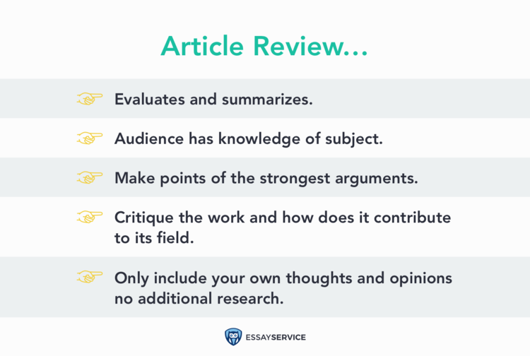Key points when writing an article review