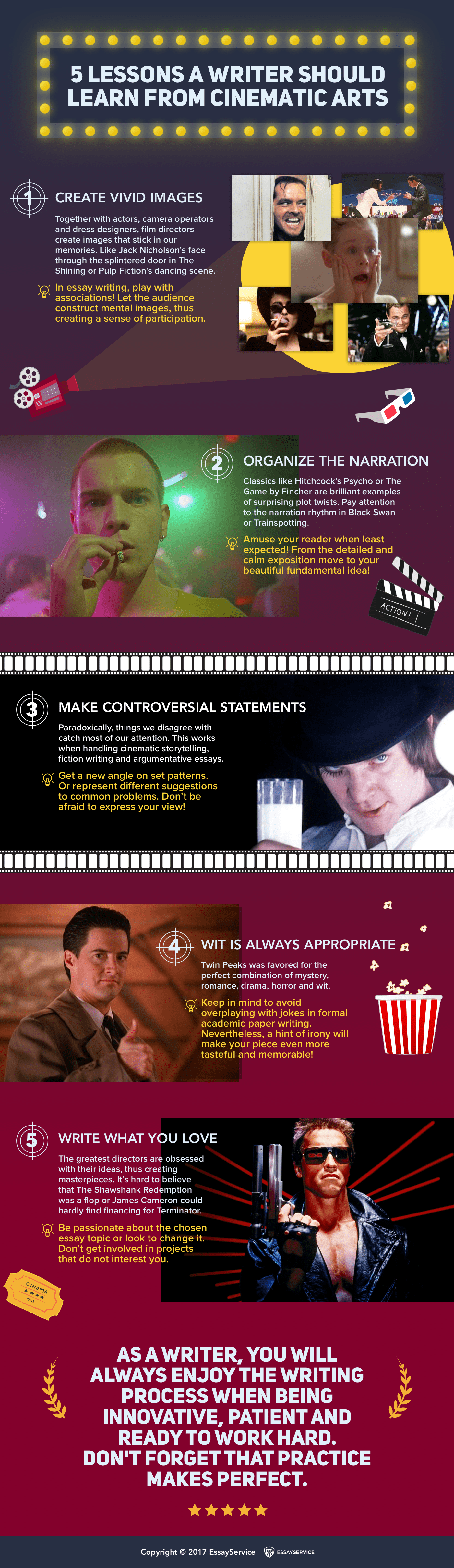inforgraphics on creative writing lessons from cinema