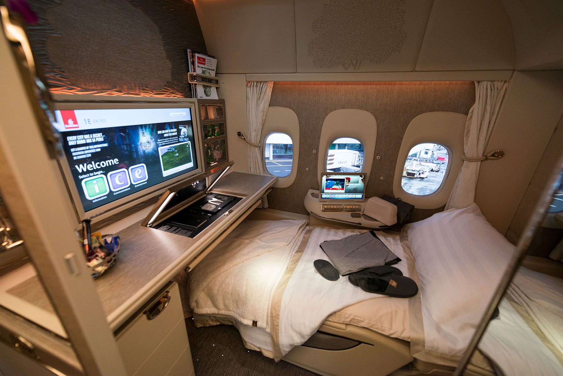 Emirates First Class bed in the sky on a Boeing 777