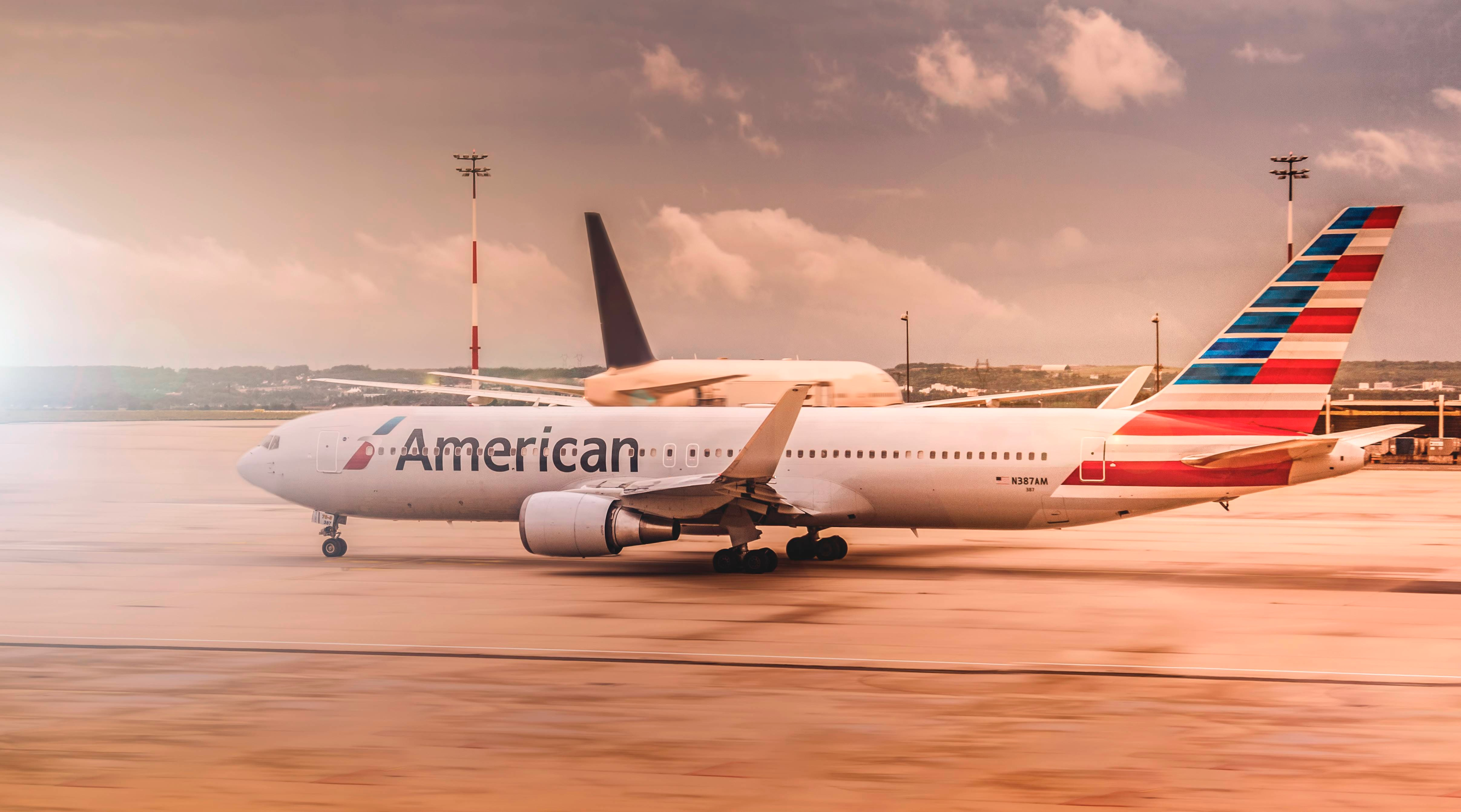 American Airlines plane on the taxiway