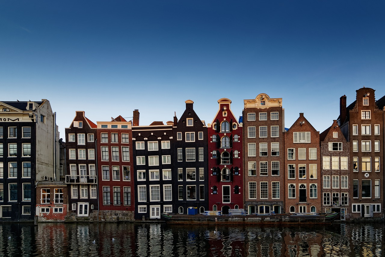 European houses in Amsterdam along a river
