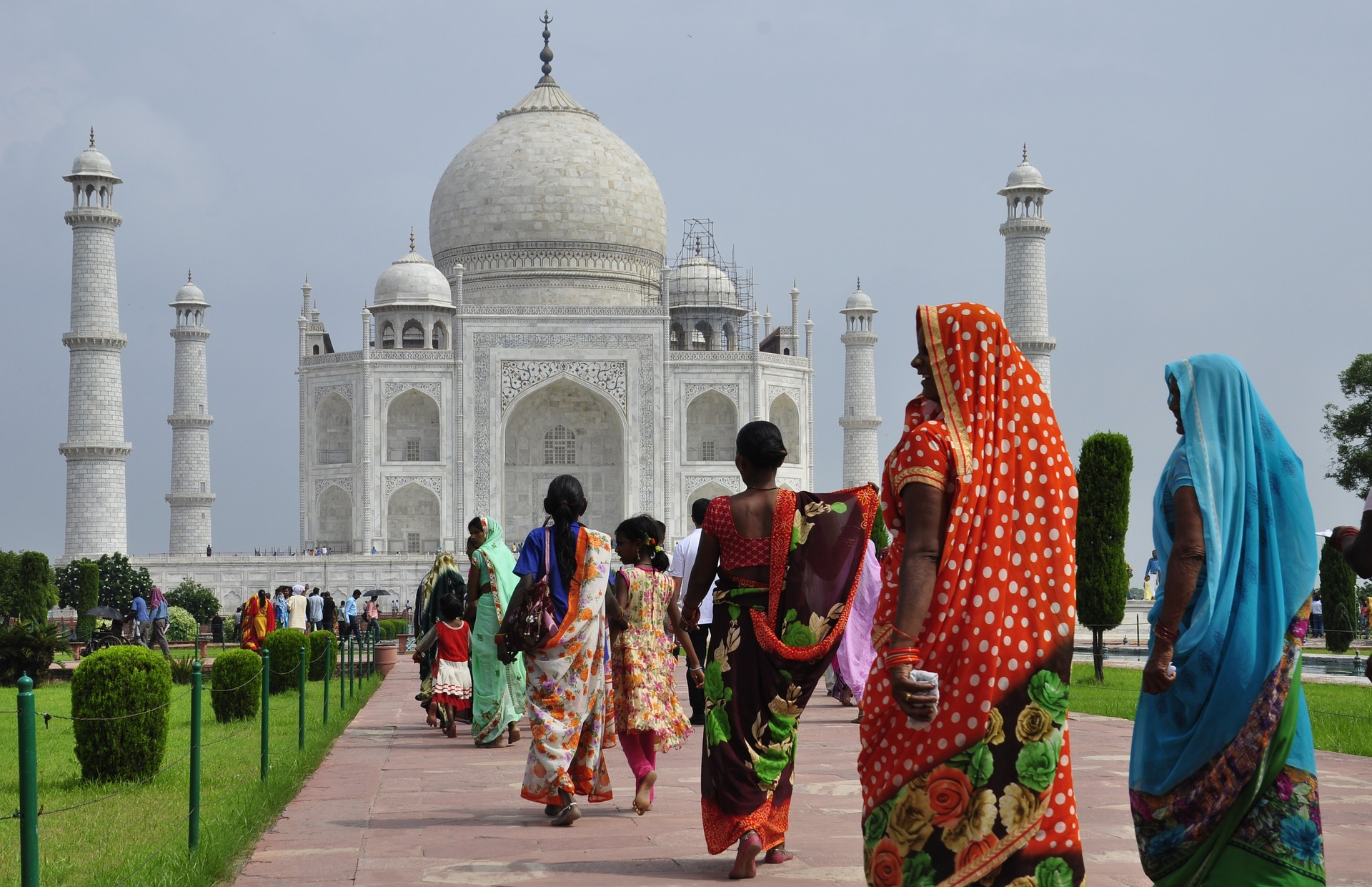 Taj Majal near Agra, India with women in local dress