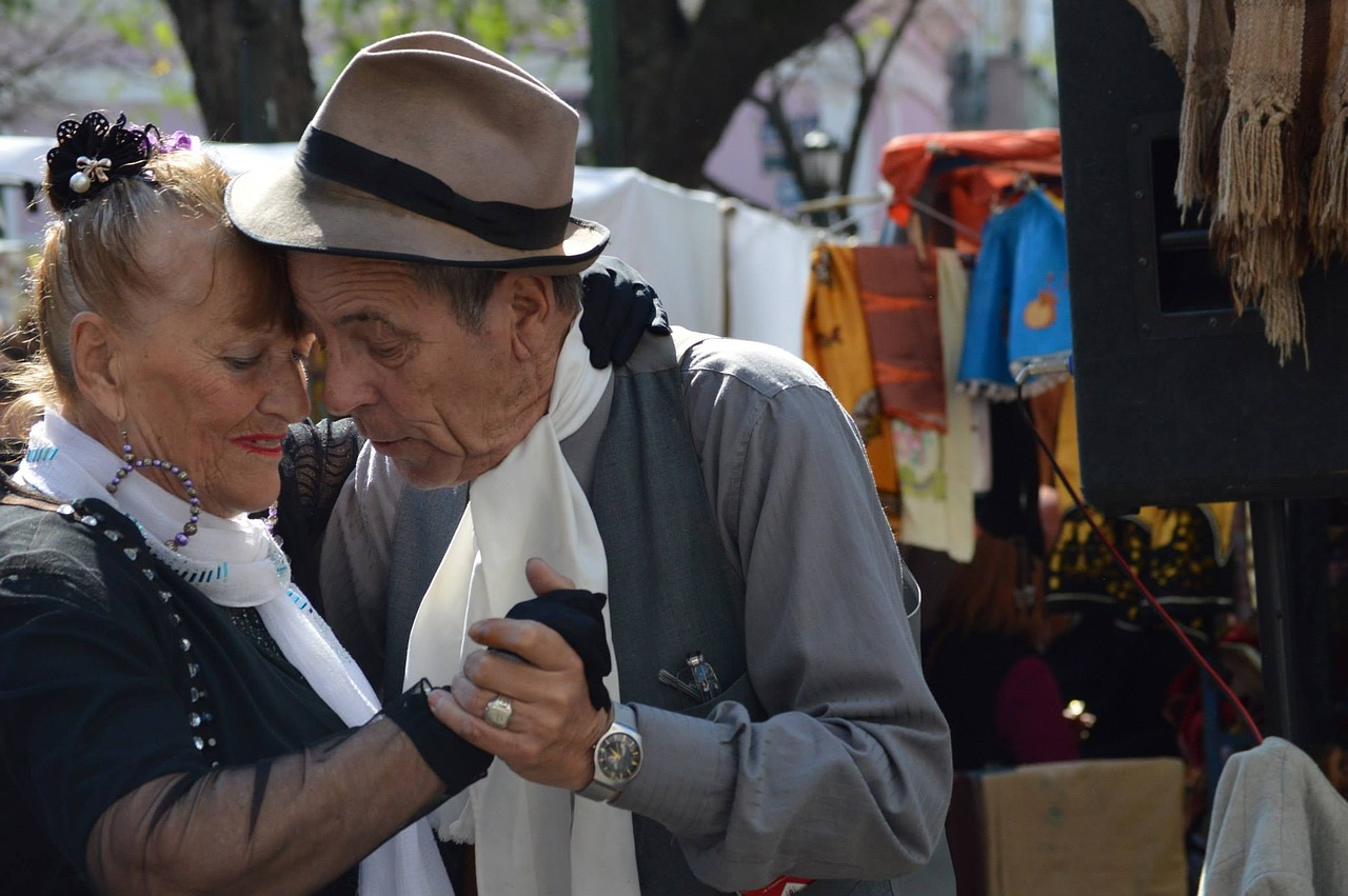 older couple dancing tango in Buenos Aires, Argentina