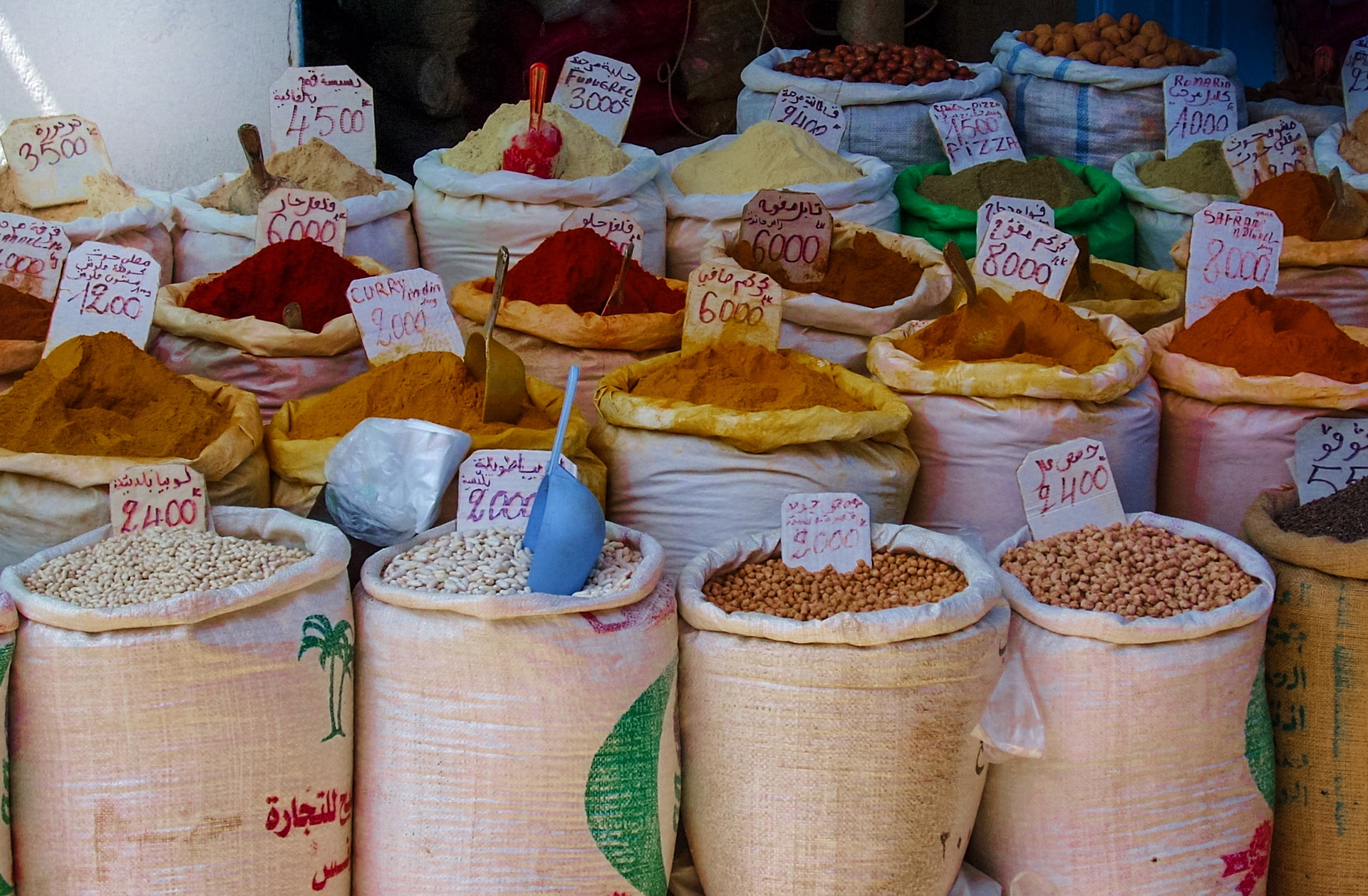 spices for sale at a Moroccan souk market