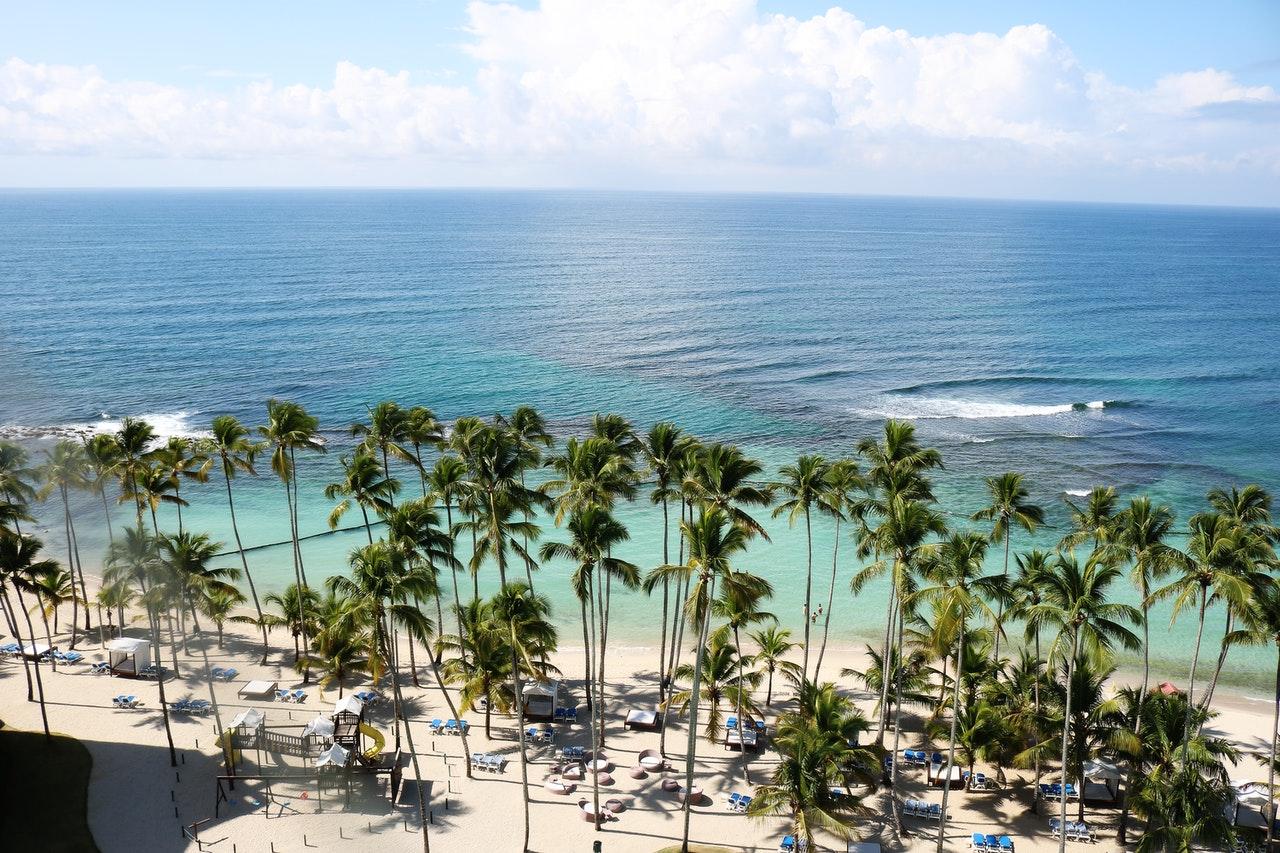 overhead shot of Caribbean beach in Dominican Republic