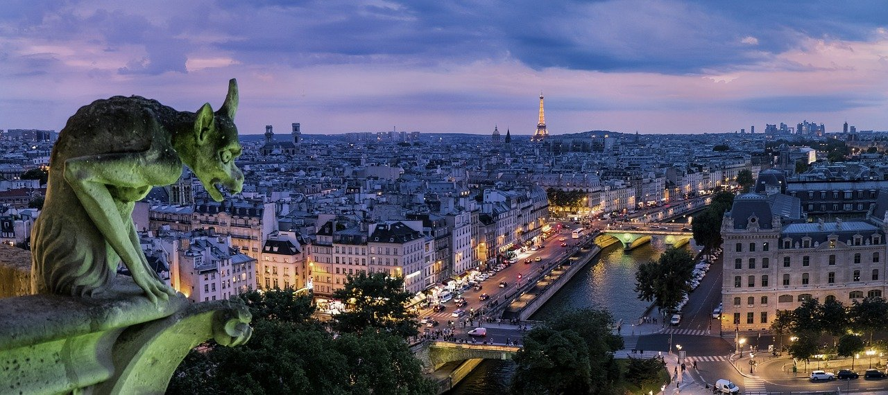 Paris, France at night with gargoyle overlooking the city