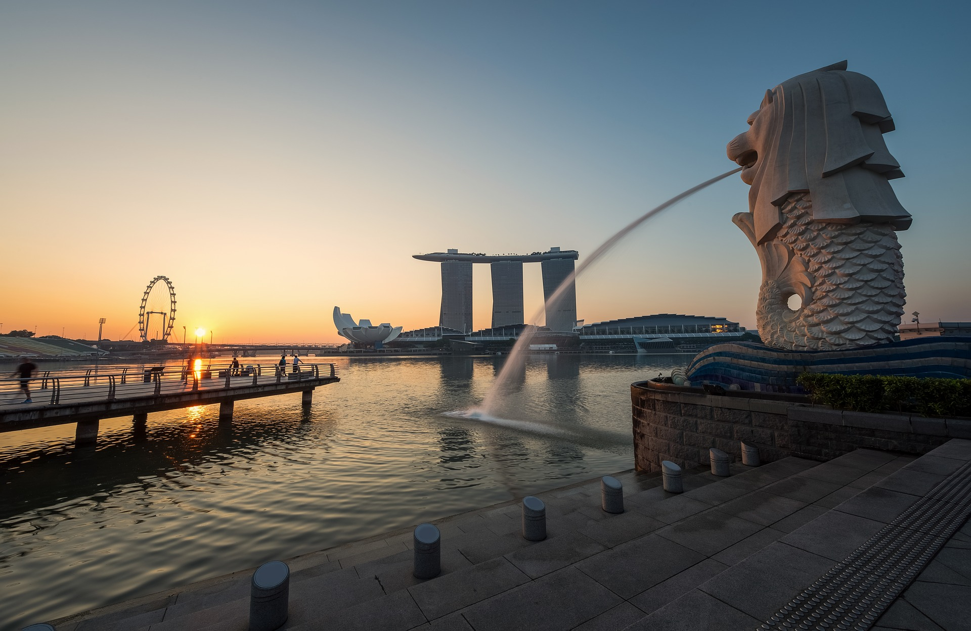 Merlion spitting water in Singapore