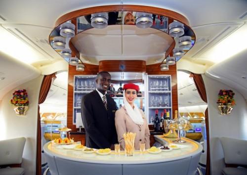 inflight bar onboard Emirates First Class