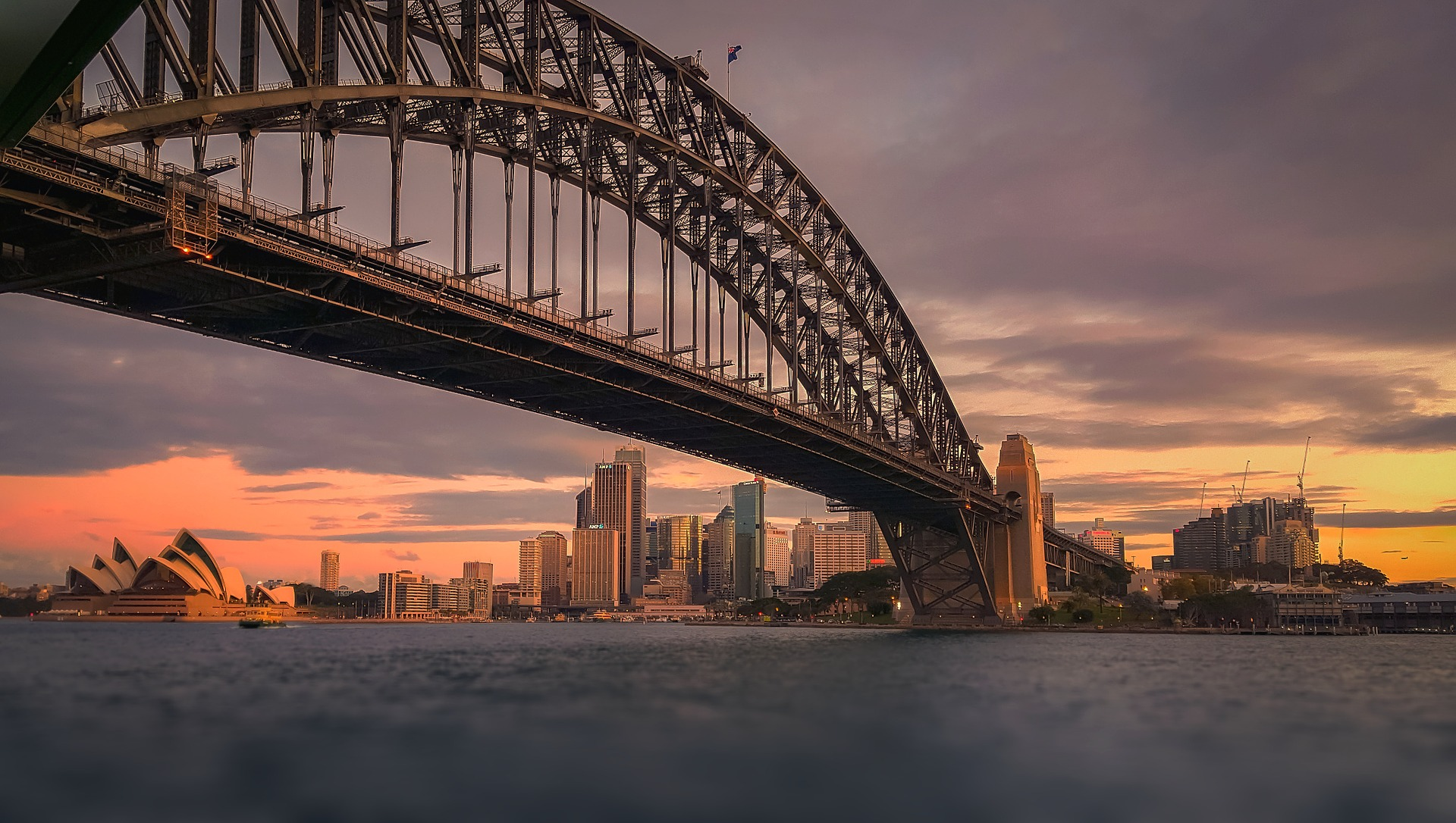 Sunset view of Sydney Harbour Bridge and Opera House in Australia