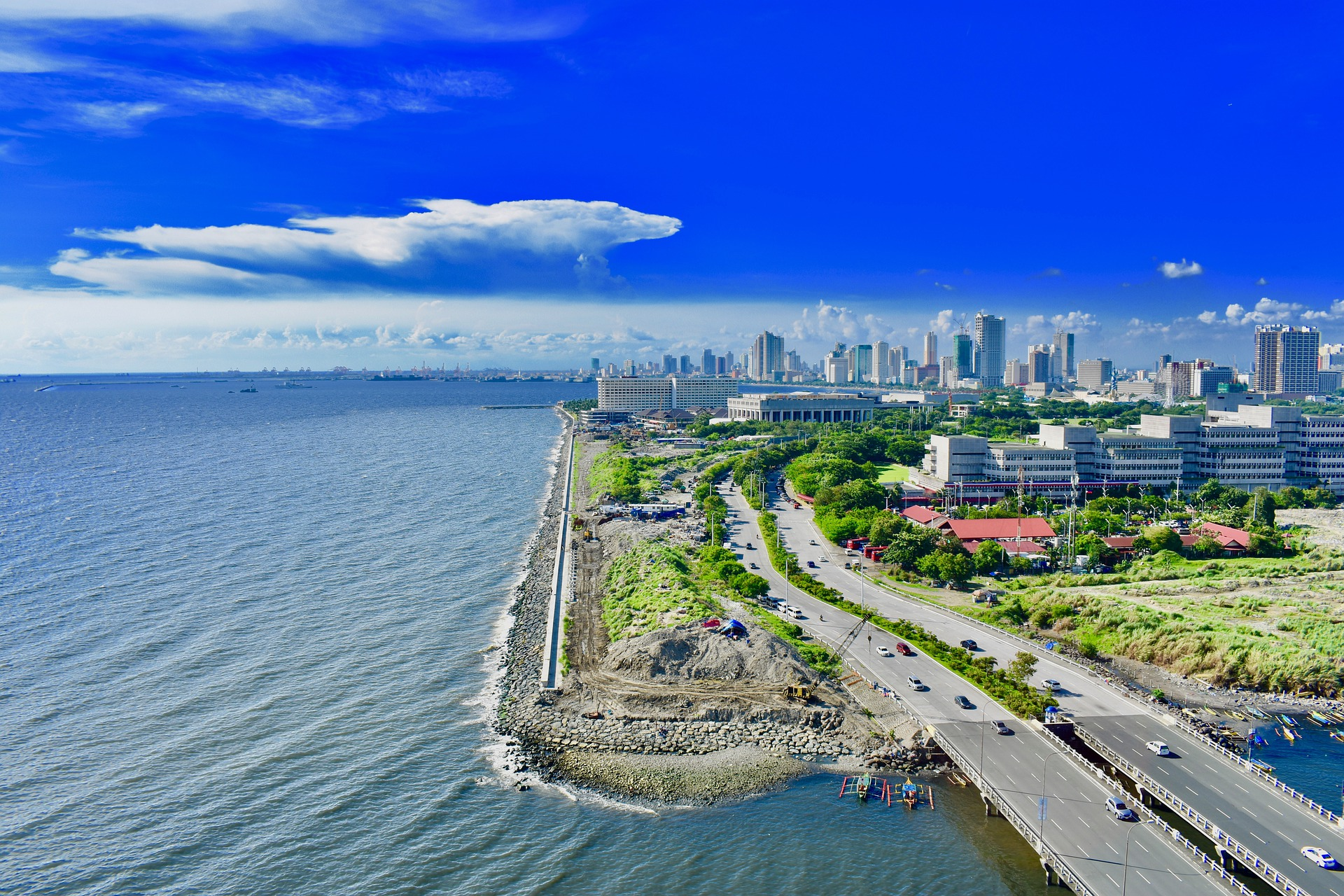 Sunny day and blue sky in Manila, Philippines