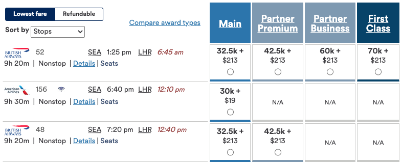 screenshot of Alaska Airlines mileage plan booking British Airways flights with lower taxes/fees