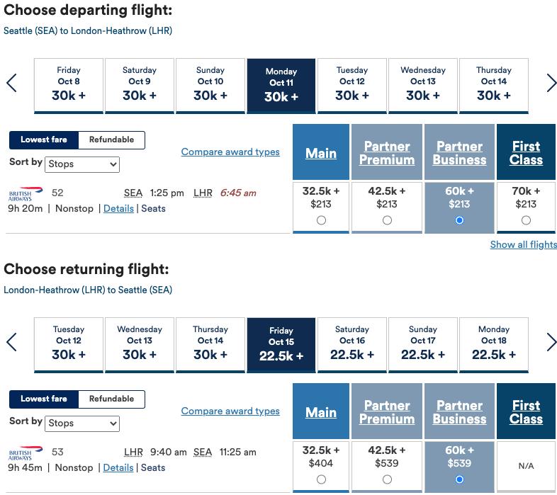 Round-trip booking on British Airways' flights using Alaska Airlines miles