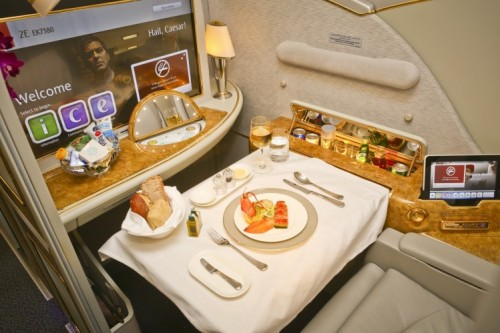 Emirates First Class meal onboard A380