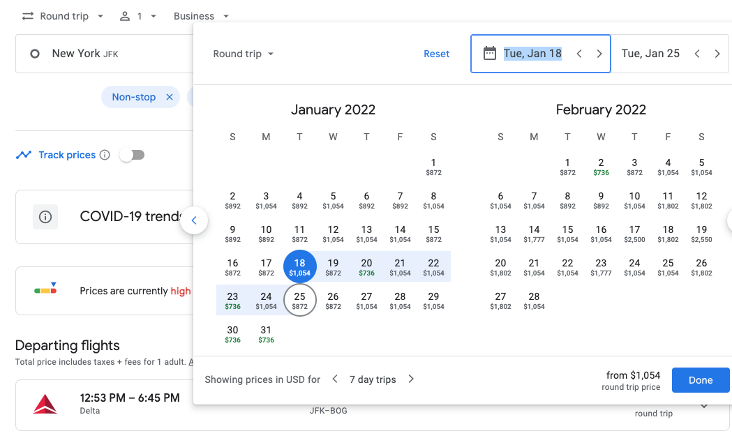 screenshot of google flights search calendar showing cash prices for delta one business class from new york to bogota in January and February 2022