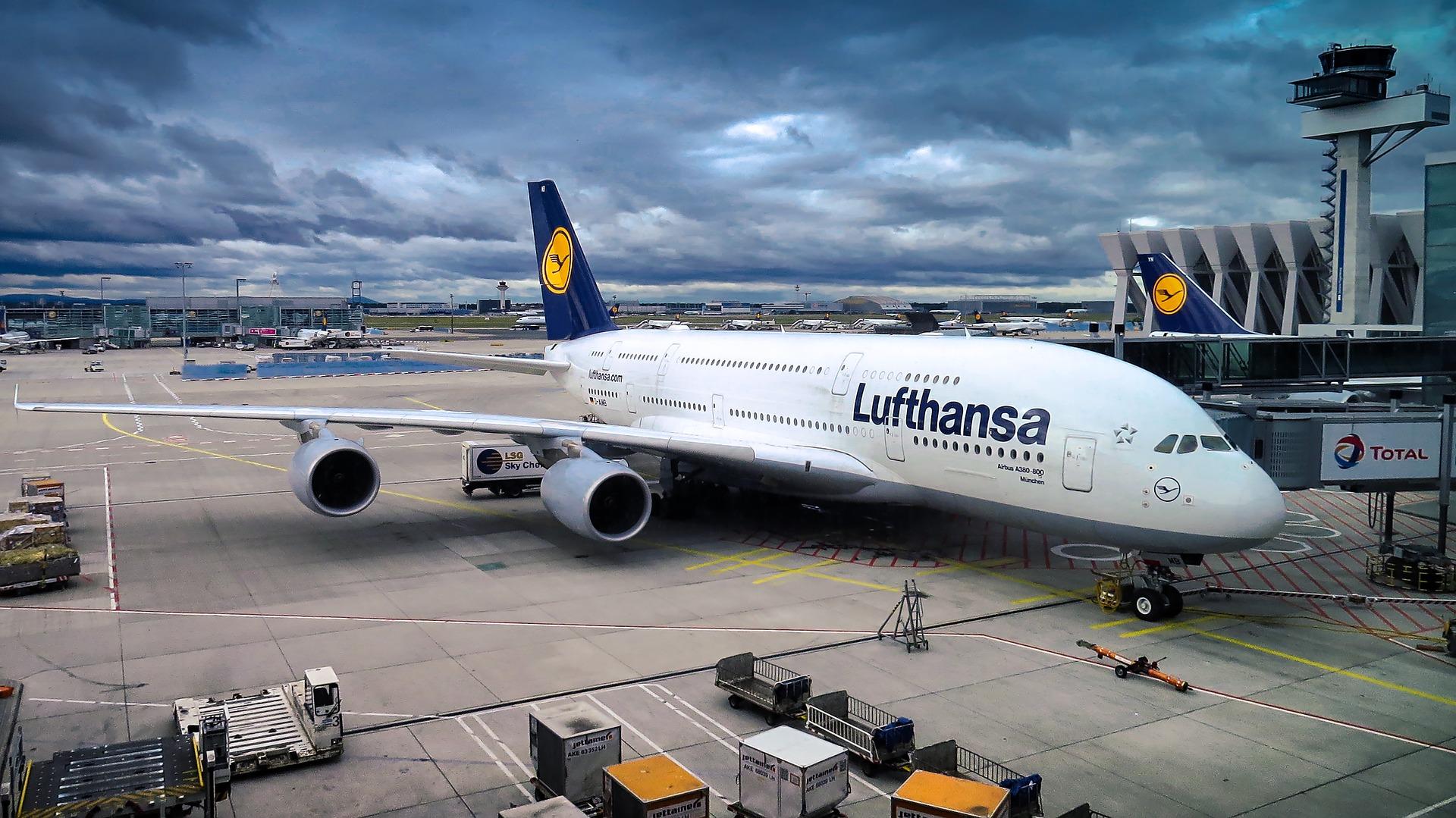Lufthansa A380 at gate
