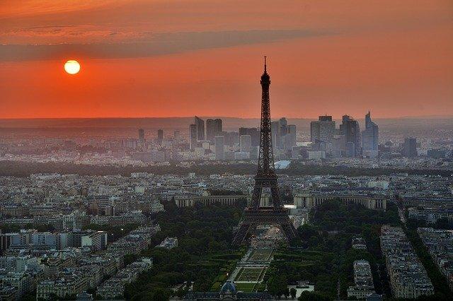 Paris, France skyline at sunset