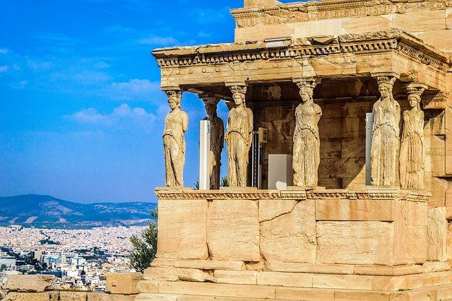 View from on top of the Acropolis ruins in Athens, Greece