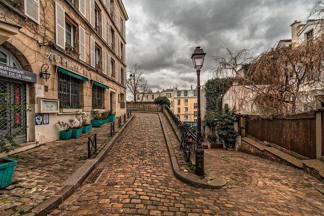 cobblestone streets near Montmarte in Paris, France