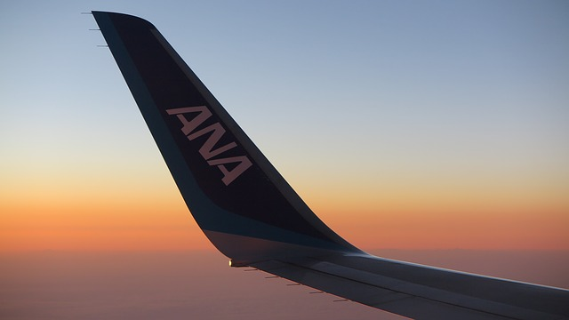 sunset view of the wing from airplane window on an ANA aircraft