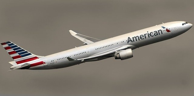American Airlines plane flying