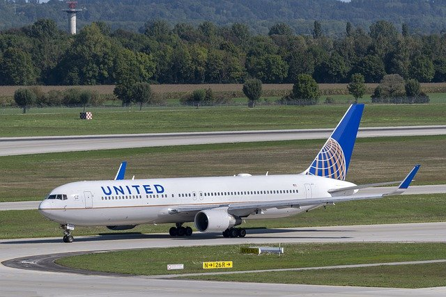 United Airlines plane on taxiway