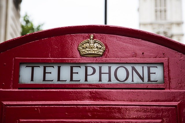 Telephone booth in London, England