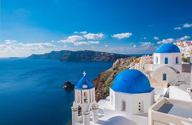 Church overlooking the coastline of Santorini, Greece