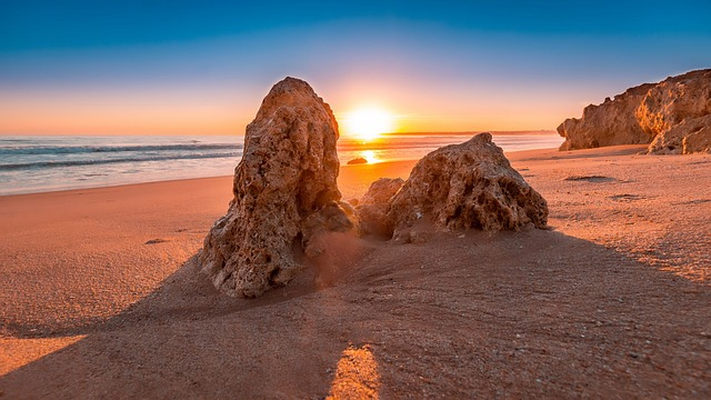 sunset along the Algarve coast in Portugal