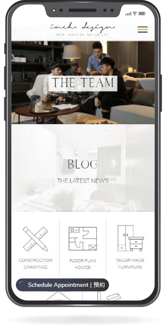 Mobile screenshot of inchinterior.design home page.