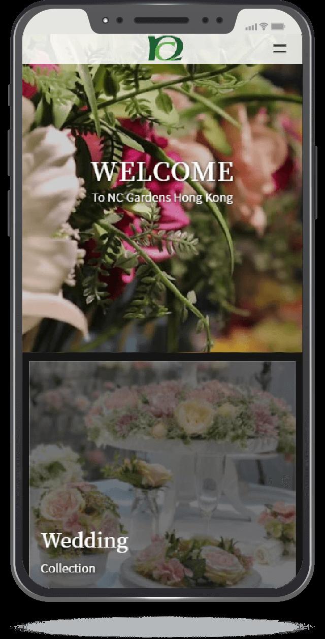 Mobile screenshot of ncgardenshk.com home page.