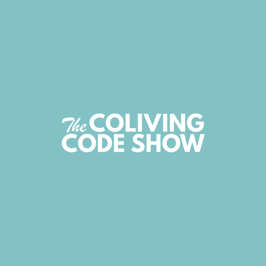 The Coliving Code Show logo in white with light blue background