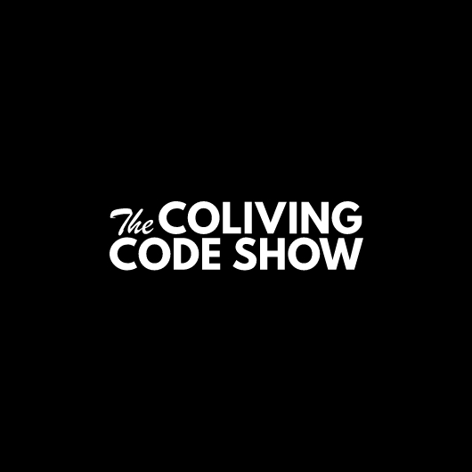The Coliving Code Show logo in white with black background