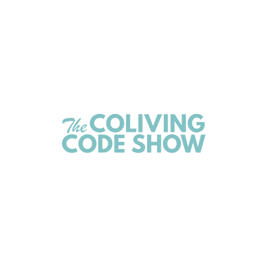 The Coliving Code Show logo in light blue with white background