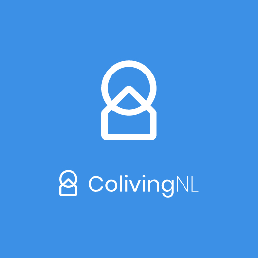 colivingnl logo in white with blue background