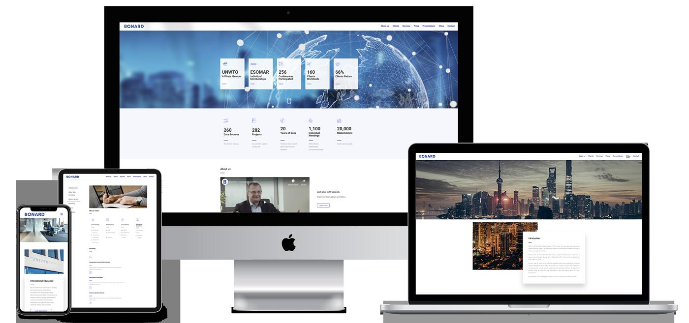bonard website showcase in laptop, desktop, tablet and mobile version