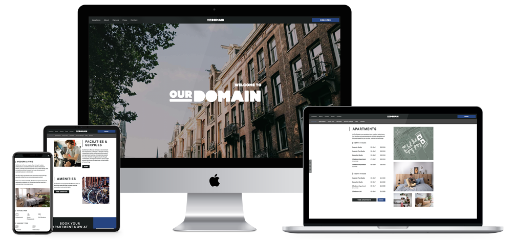 ourdomain website showcase in desktop, mobile, tablet and laptop version