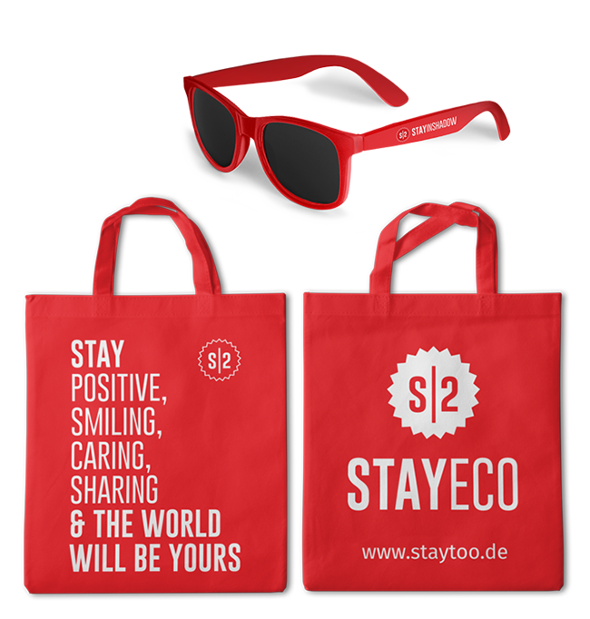 staytoo branded merchandising sunglasses and tote bag