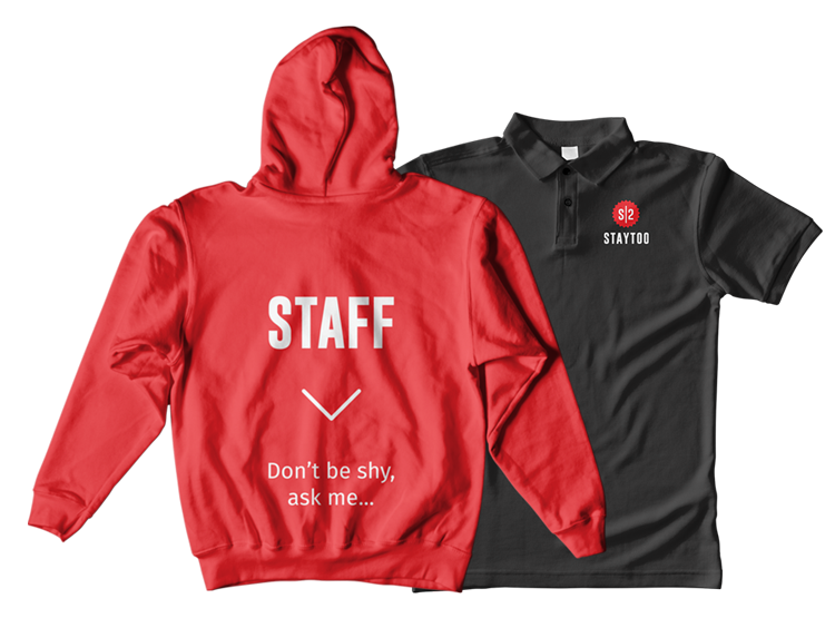 staytoo branded merchandising hoodie and t-shirt