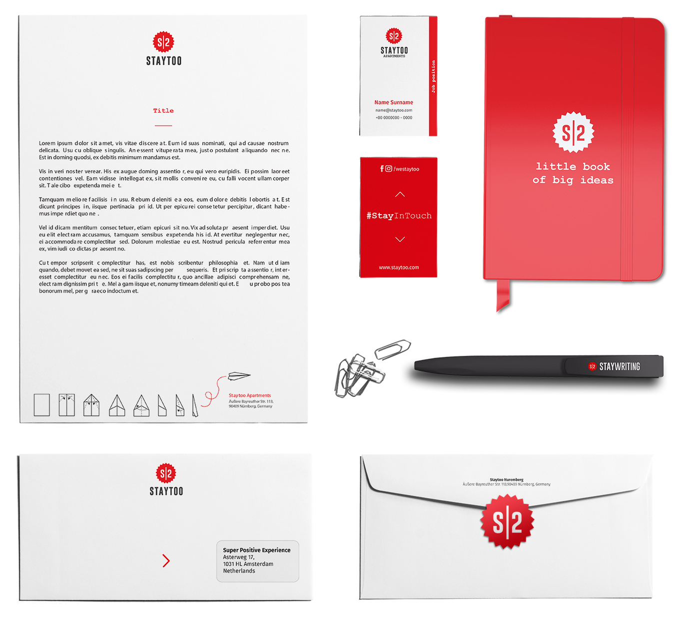 staytoo apartments full stationery
