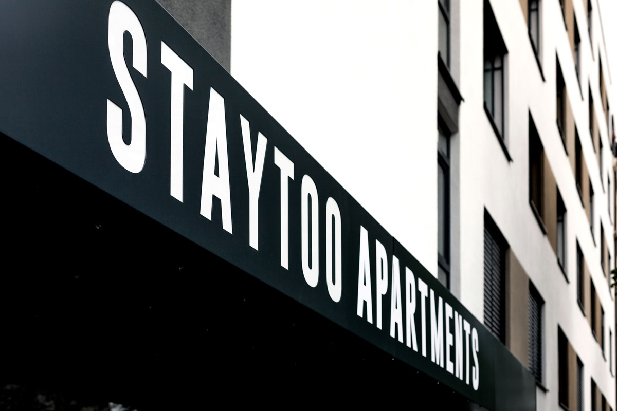 SPX Agency Work: Staytoo logo on building