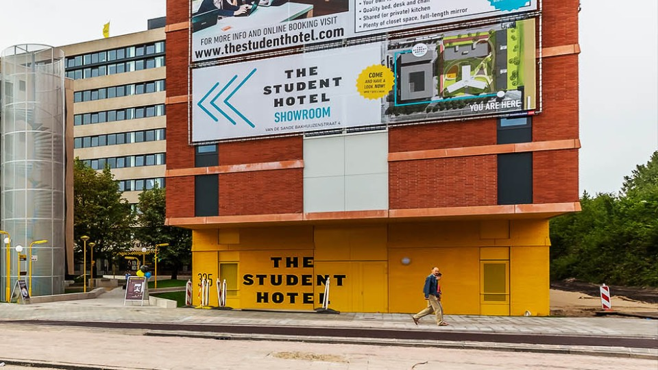 The Student Hotel outdoor banner in Amsterdam west building