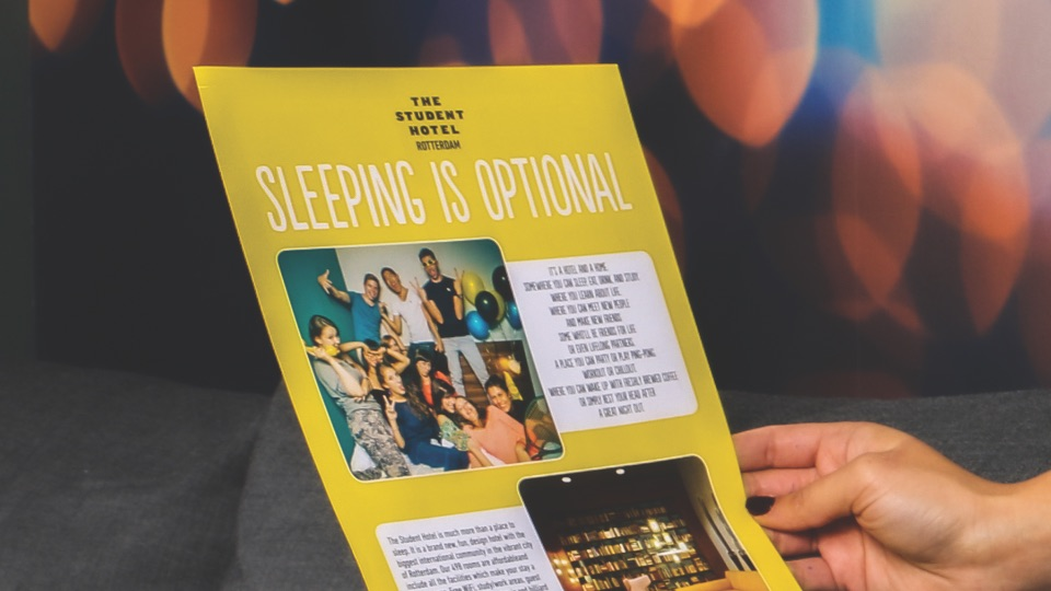 "SPX Agency: The Student Hotel's ""sleeping is optional"" flyer"