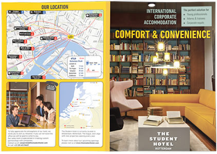 SPX Agency: The Student Hotel promotional leaflet