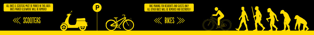 SPX Agency: The Student Hotel bike parking lot signage