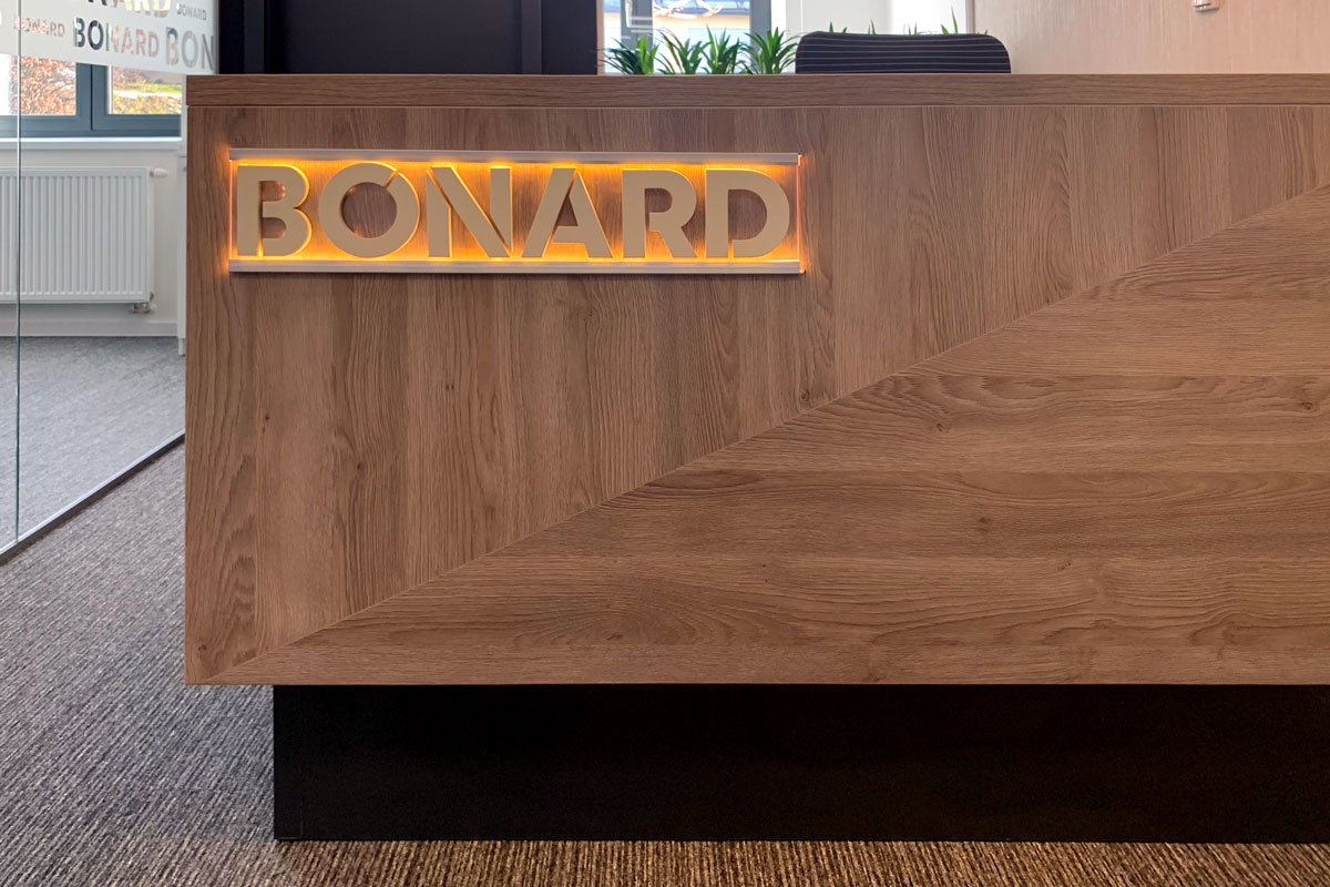 bonard signage wooden logo in the lobby