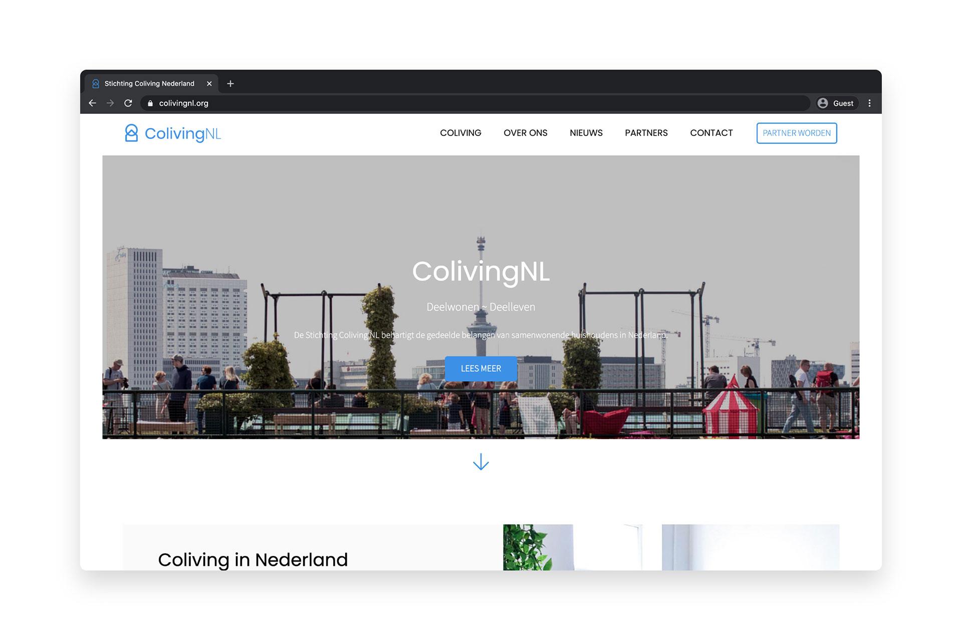 ColivingNL website design by SPX: homepage