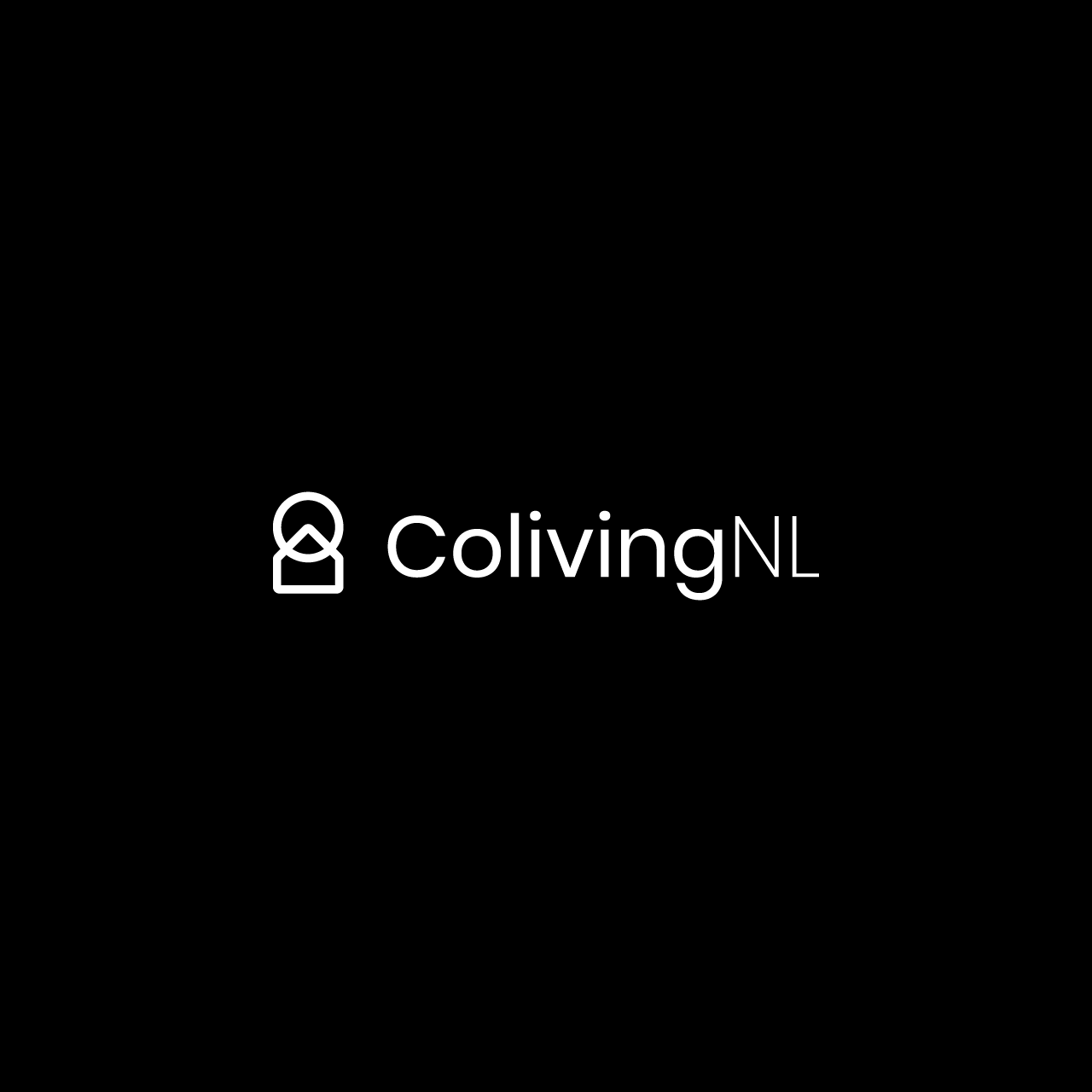ColivingNL white logotype with black background